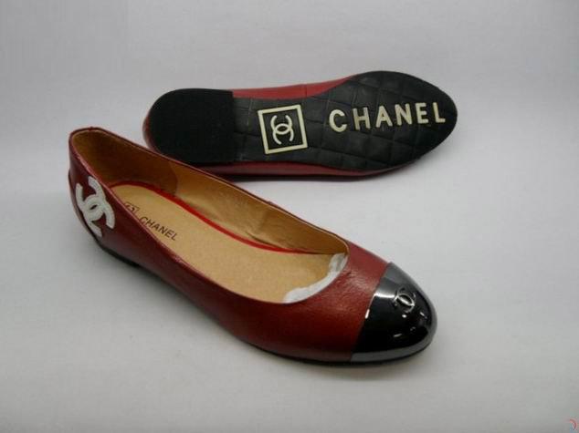 Chaussure Chanel Ballerines Noir et Rouge Femme-30 - Chaussure ... 95b4eb836a35