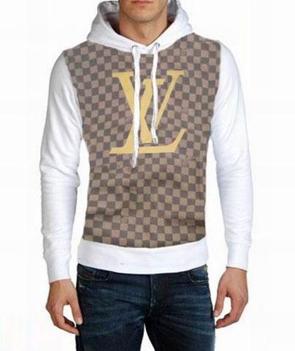 Nouveau Sweat Louis Vuitton Capuche Blanc et Gris Homme-43 - Nouveau ... 07d104cbf17