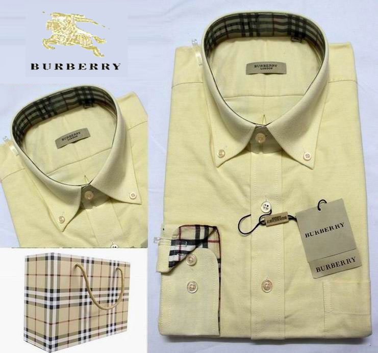 c74b5fee47b1 Chemise Burberry Manches Longues Homme Jaune-109 - Chemise Burberry ...