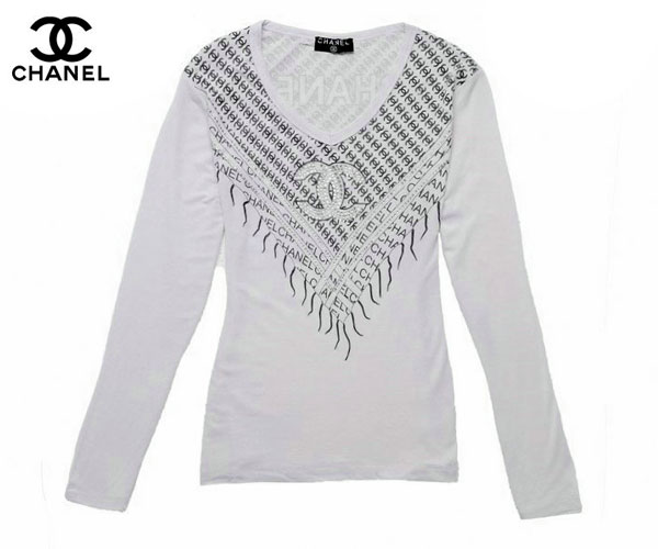 T Shirt Chanel Femme Manches Longues Blanc et Gris-42 - T Shirt ... 02de7fcadbe