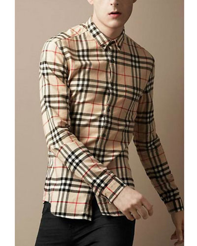 Chemise Burberry Homme Manches Longue Rayure Beige-135 - Chemise ... 6636c69850c