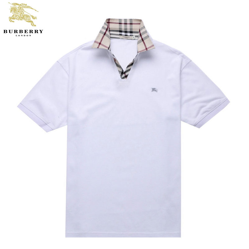 Burberry T Shirt Homme Polo Manches Courte Blanc-417 - Burberry T ... 2c28b9a0b52