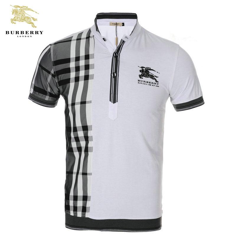 2012 T Shirt Burberry Homme Manches Courte Blanc et Gris-418 - 2012 ... 9c77480321a