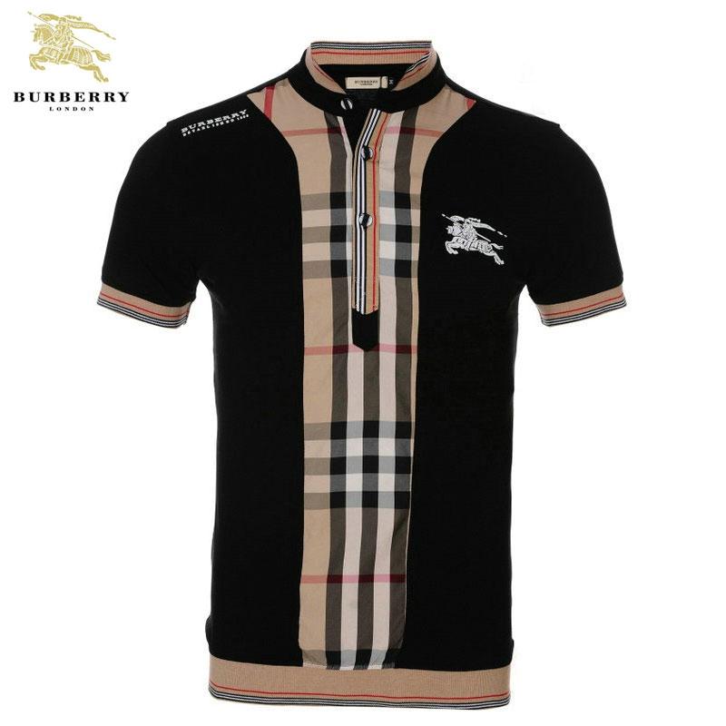 14268aefde03 T Shirt Homme Burberry Carreau Manches Courte Noir et Marron-423 - T ...