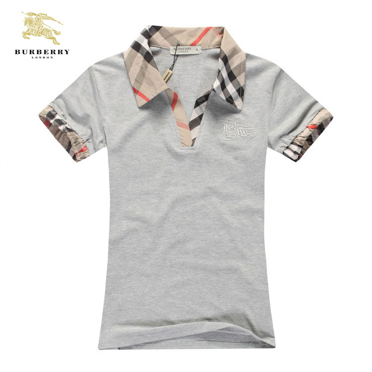 d4bb7df9bc07 ... T Shirt Burberry Femme Gris Col Polo-209 · See Larger imageSee ...