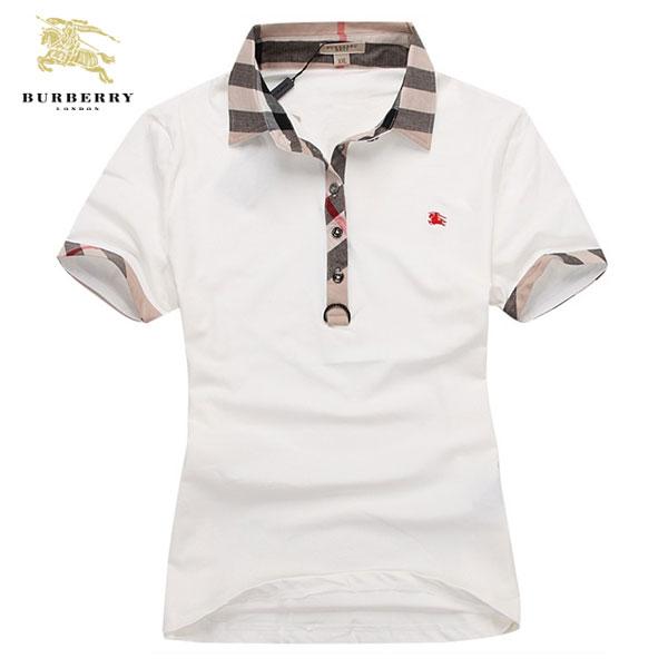 Burberry T Shirt Femme Blanc Col Polo-237 - Burberry T Shirt Femme ... 690af7e42641