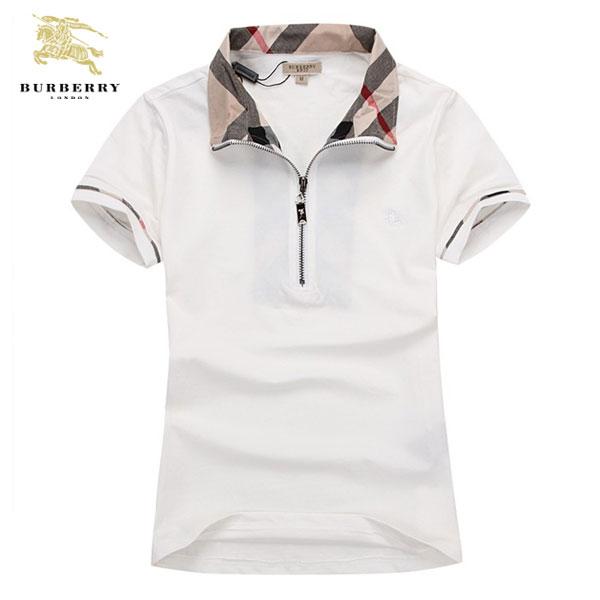 Burberry T Shirt Femme Col Polo Blanc-241 - Burberry T Shirt Femme ... 5937eb2b721