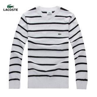 41976fc587 Solde Pull Lacoste Homme Manches Longue Multicolor Blanc et Noir-97 ...