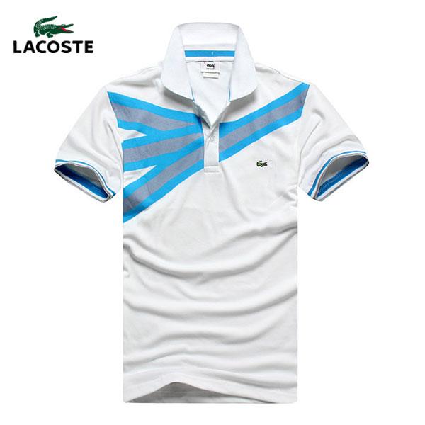 bc3bc4d4e1f 2013 T Shirt Lacoste Homme Blanc et Bleu Manches Courte-616 - 2013 T ...