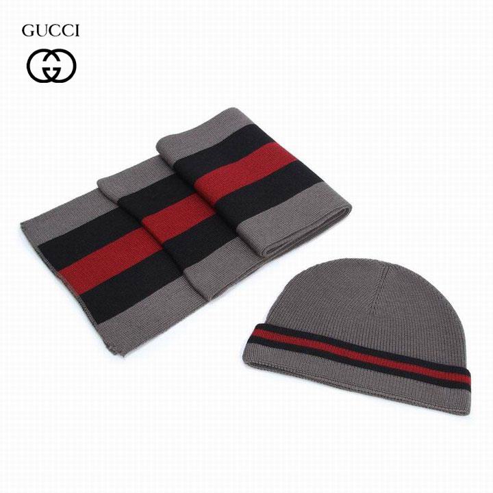 Solde Gucci Écharpe et Bonnet Vert et Gris Pas Cher-4 - Solde Gucci ... 52ea88eb735